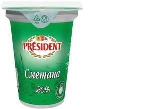 Сметана 20%, Президент, 350г