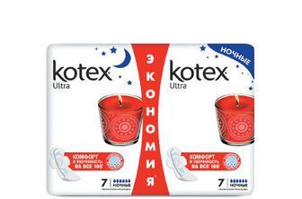 Прокладки гігієнічні Kotex Ultra Night Duo, 14 шт./уп