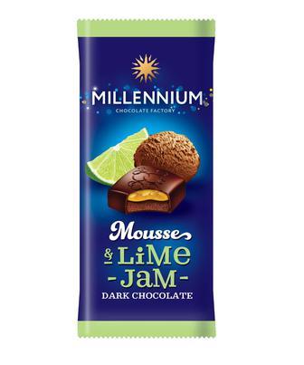 Шоколад з муссовою начинкою чорнично, апельсиновою, лаймовою, полуничною 135г Мілленніум