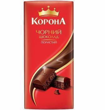 ШОКОЛАД пористий чорний, молочний, 90 г КОРОНА
