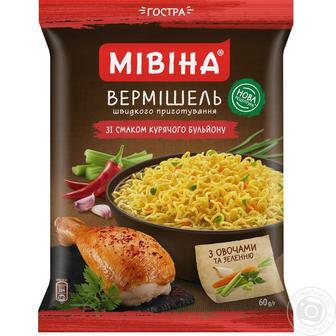 Вермішель Мівіна зі смаком курки негостра 60г