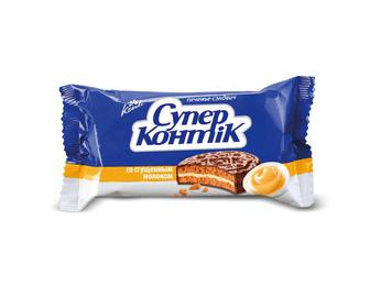Печиво-сендвіч Konti «Супер-Контік» зі згущеним молоком, 100г