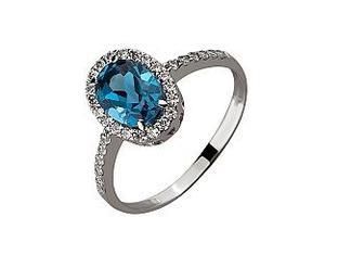 Золотое кольцо с топазом и фианитами Артикул 01-17522501
