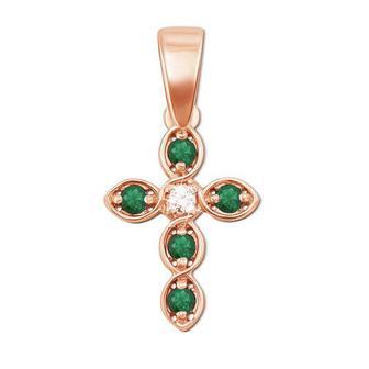 Золотой крестик с бриллиантом и изумрудами.