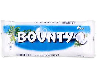 Батончик Bounty з м'якоттю кокоса в молочному шоколаді, 6×28,5г/уп