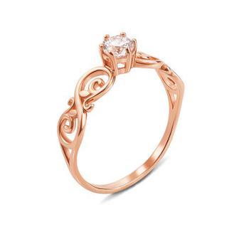 Золотое кольцо с фианитом Swarovski Zirconia. Артикул 12236/SW