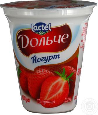 Йогурт Полуниця, персик-маракуйя, 3,2% Дольче 280г