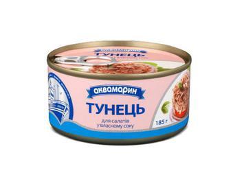 Тунець «Аквамарин» для салатів у власному соку, ключ, 185г
