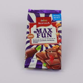 Шоколад Корона Max Fun Вибухова карамель, мармелад, печиво, 160г