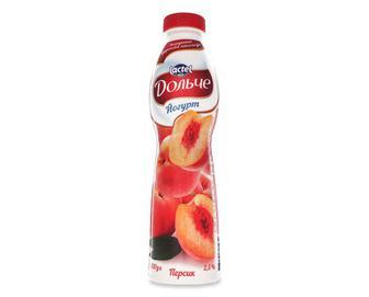Йогурт «Дольче» з наповнювачем персик, 2,5% жиру, 0,5кг