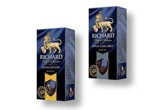 Чай Earl Grey, чорний з ароматом бергамоту/Royal Ceylon, чорний Richard 25 ф/п х 2 г