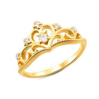 Золотое кольцо «Корона» с фианитами. Артикул 12337/eu