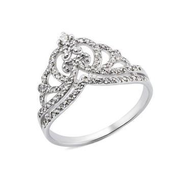 Серебряное кольцо Корона с фианитами (00295/12/1/55)