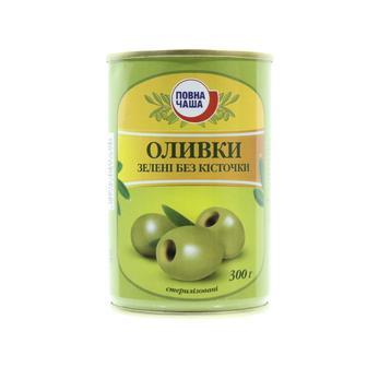 Оливки Повна Чаша зеленые без косточки 300г