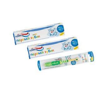 Зубна паста, щітка Міні для дітей до 2-х років Аквафреш 50мл
