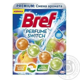 Скидка 31% ▷ Чистящий блок для туалета Bref Сила Актив смена аромата Персик-Яблоко, 50г