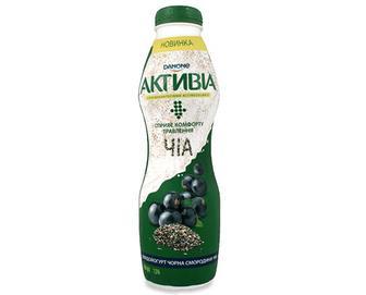 Біфідойогурт «Активіа» чорна смородина-чіа 1,5% жиру, 580 г