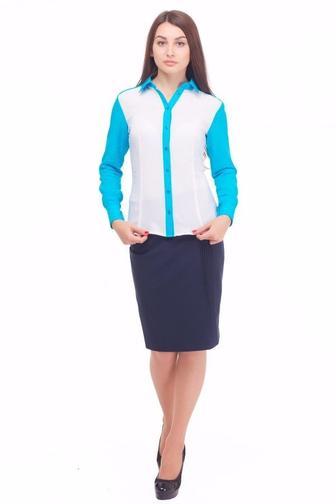 Блузка белая с голубым воротником