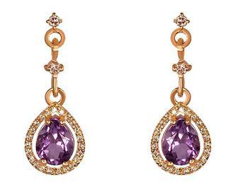 Золоті сережки з аметистом і фіанітами (1б_с-029/338)