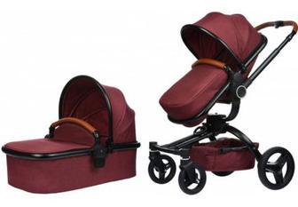 Дитяча коляска універсальна 2 в 1 Miqilong V-BABY X159 Dark red (X159-05)