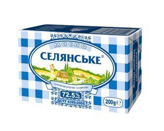 Масло солодковершкове 72,5%, Селянське, 200г