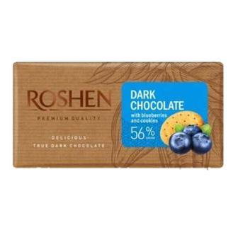 Шоколад Roshen Чорний з чорницею і печивом 56% 90г