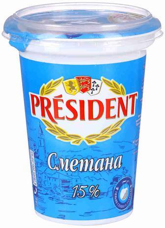 Сметана 15% 350 г president