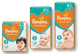 Підгузники Sleep&Play з рoмашкoю 3 Midi/4 Maxi/ 5 Junior Pampers 58/50/42 шт