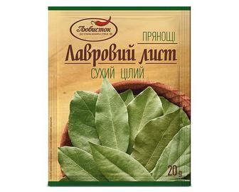 Лист лавровий «Любисток» сухий цілий, 20г
