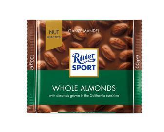 Шоколад Ritter Sport молочний з цільним мигдалем, 100г