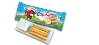 Сыр плавленный с хлебными палочками 45%, Веселая Коровка, 35г