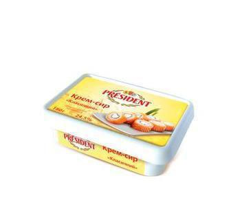 Продукт творожний Крем-Сир Класичний 24.5% або з ароматом горіха 18%  President 180 г