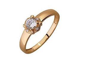 Золотое кольцо с фианитами Артикул 01-17395700