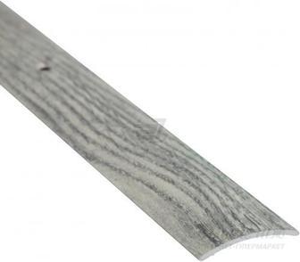 Поріжок алюмінієвий декорований Braz Line гладкий з отворами 30x900 мм дуб димчастий