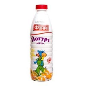 Йогурт питний персик 1%, полуниця-банан, 1% 870г, Фанн