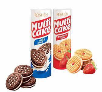 Печенье клубника-крем, какао с мол-кремовой нач. Мульти-Кейк 180 г