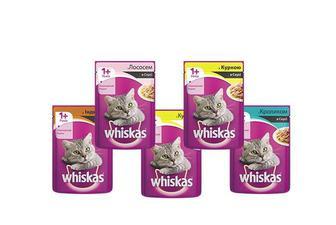 Корм консерви для дорослих котів з кроликом/ лососем/індичкою/куркою, в соусі/куркою в желе Whiskas 100 г