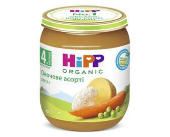 Пюре Hipp, овочеве асорті, 125г