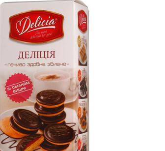 Печиво здобне збивне зі смаком вишні та апельсину, Деліція, 135г