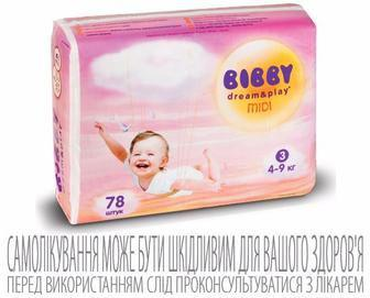 Детские подгузники Bibby Dream&Play Midi Повна Чаша, 78 шт