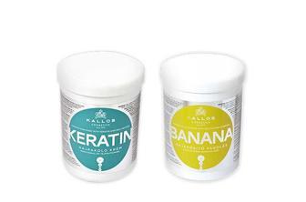 Маска для волосся з кератином та екстрактом молочного протеїну/ з екстрактом банану Kallos 1 л