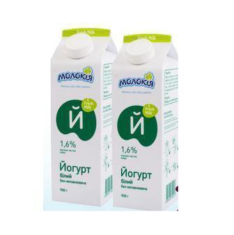 Йогурт без наповнювача 1.6% Молокія 900 г