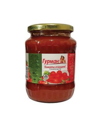 Скидка 44% ▷ Томати очищені в томатному соку Гурман 680г