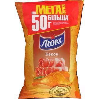 Картопляні чіпси Люкс бекон, сир, сметана та цибуля 183г