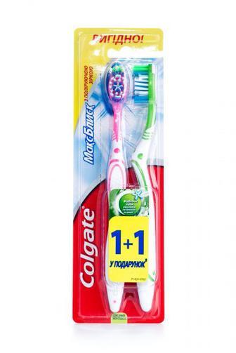 Зубная щетка Colgate Макс Блеск средняя 1+1 бесплатно