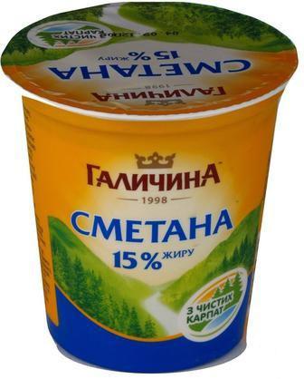 СМЕТАНА 15%, 350 г ГАЛИЧИНА